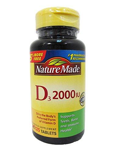 Nature Made Vitamin D3 2000 IU, 125 Tablets