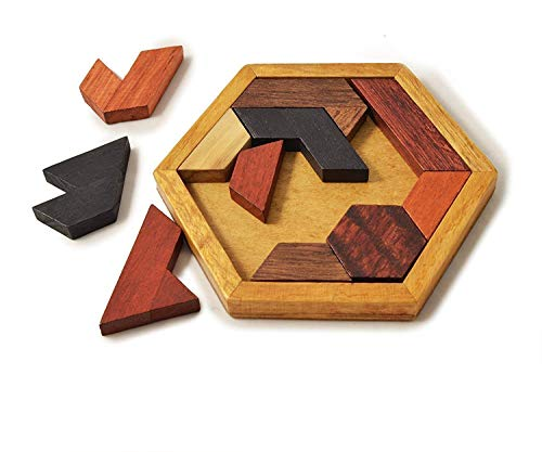 KINGZHUO Hexagon Tangram Classic Chinese Handmade Wooden Puzzle for Children and Adults & Brain Teaser Disentanglement Puzzles