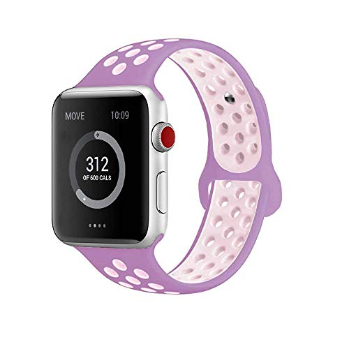 AdMaster for Apple Watch Bands 42mm,Soft Silicone Replacement Wristband for iWatch Apple Watch Series 1/2/3 - M/L Violet/Plum Fog