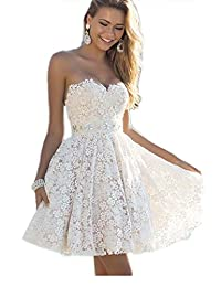 Women's Elegant Tube Lace Fit&Flare Swing Cocktail Party Dress