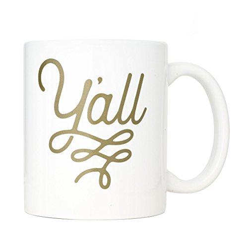 Souvenir Mug Cup - Y'all Texas Mug Gold 11 ounce Coffee Mug with Texas Gift Box