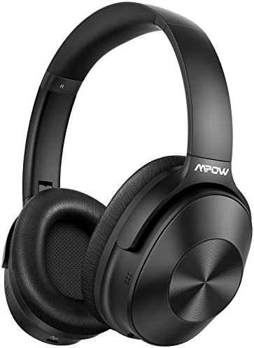 Mpow H12 Noise Cancelling Headphones Bluetooth, Wireless/Wired Headphones Over Ear with Microphone, Bluetooth 5.0, Hi-Fi Deep Bass, Protein Earpads, 30H Playtime for TV, Online Class, Home Office