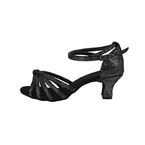 Femme Noir Hauts talon Latine Triworiae chaussures De Sandales 5cm Talons Danse xnTZx08Xqw