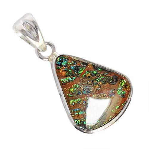 Ravishing Impressions Rare Green Blue Fire Ammolite Gemstone Pendant, Canadian Ammonite 925 Sterling Silver Jewelry, Handmade Jewellery, FSJ-3763