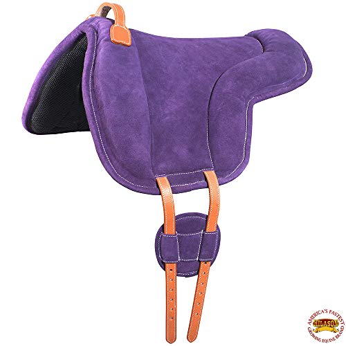 HILASON Horse Bareback Saddle Pad Anti Slip Base Suede Leather Purple