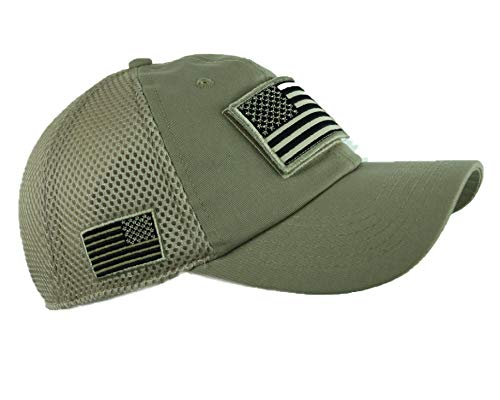 (90210 Wholesale USA American Flag Baseball Cap Patch Trucker Army CAMO Hat Hunting Tactical Caps (Khaki))