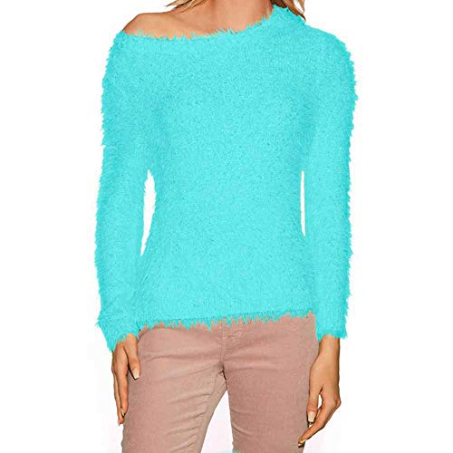 Cenglings Women's Round Neck Solid Color Long-Sleeve Fluffy Fuzzy Sweater Slim Knit Blouse Faux Fur Pullover Sweater