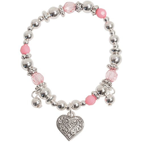 Heirloom Crystal (Sweet Little Girl Silver Tone Heart Pink Crystal Charm Bracelet)