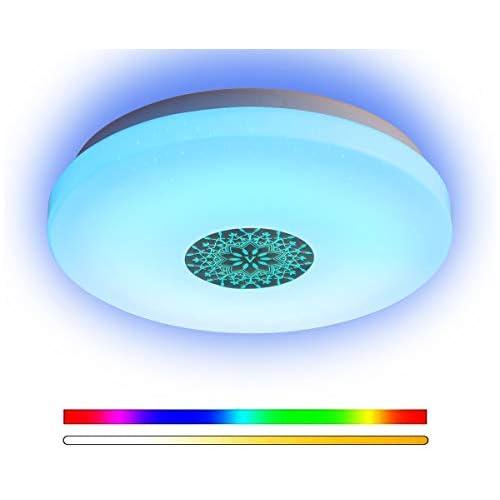 chollos oferta descuentos barato ANYES Luz de techo moderna inteligente Wifi Control de voz Adecuado para sala de estar Dormitorio Cocina Lámpara de techo LED de color atenuado