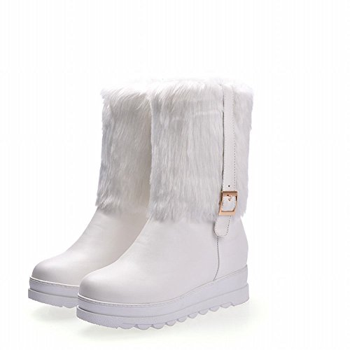 Show Shine Womens Faux Fur Low Heel Wedges Heel Ankle Boots White r3ljoIKm9