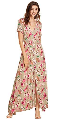 Bouton De Femmes Milumia Jusqu'à Maxi Parti Flowy Imprimé Floral Multicolore-robe Fendue Floral-2