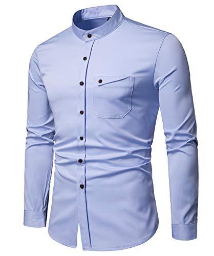 Herren Sommerhemden Stehkragen Leinenhemd Shirts Slim Fit Langarm Freizeit Top