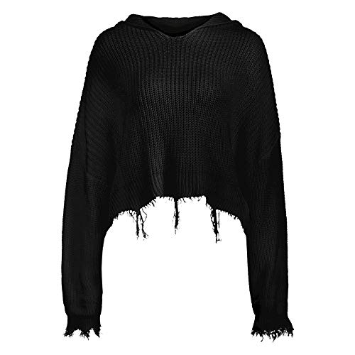 ZAFUL Women's Loose Long Sleeve V-Neck Ripped Pullover Knit Sweater Crop Top (Z-Hoodie Black)