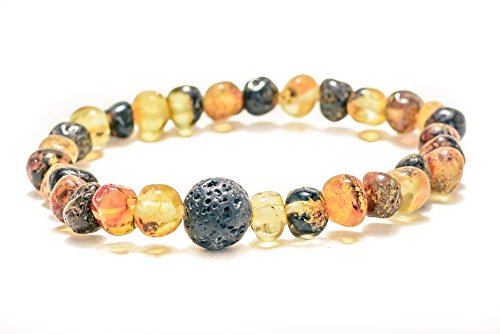 Natural Baltic Amber and Lava Bracelet for Adults Unisex 100% Natural 7 inches Stretch Certified Amber