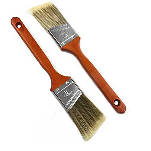 MAXMAN 2 Pieces Angled Sash Paint Brush Set for Walls,Polyester Blend,Treated Wood Handle,2 inch (Renewed)