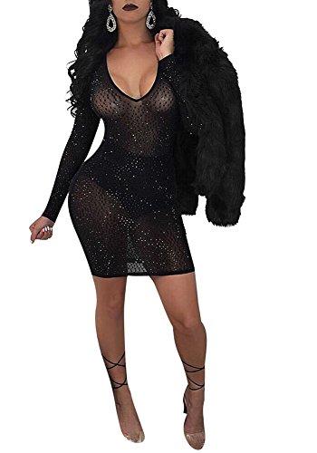 Acelyn Women's Sexy Long Sleeve V Neck See Through Rhinestones Stretch Mini Bodycon Party Dress Clubwear Small Black