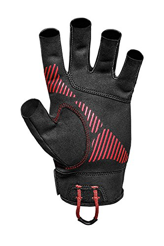Mustang Survival Traction Open Finger Watersports Glove X-Large, Black/Red, -