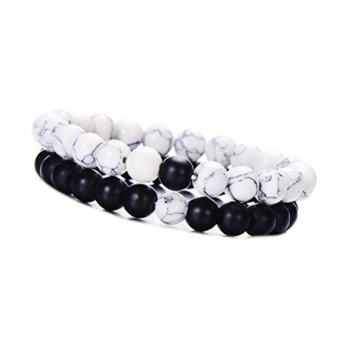 Pipitree 2 pcs/Set Distance Friendship Bracelet Couple Jewelry Men Howlite Bead Stretch Bracelet (Black) (Boy Girl Best Friend Bracelets)