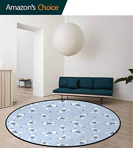 Boys Modern Machine Washable Round Bath Mat,Teddy Bears On Blue Backdrop Holding Hearts Baby Shower Theme Toddler Non-Slip Soft Floor Mat Home Decor Diameter-51 Inch,Baby Blue Cadet Blue White
