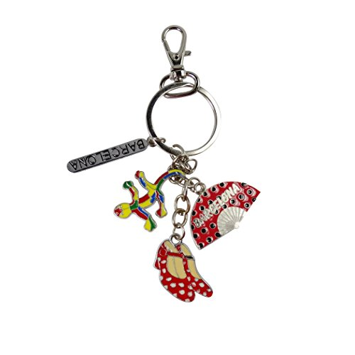 Barcelona Swivel - Barcelona Andalusia Murcia Three Regions One Key Chain Key Ring and Zipper Pull Cold Rolled Steel Porcelain Enamel Art and Lobster Swivel Clasp