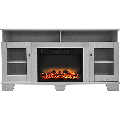Cambridge CAM6022-1WHTLG2 Savona 59 In. Electric Fireplace in White with Entertainment Stand and Enhanced Log Display