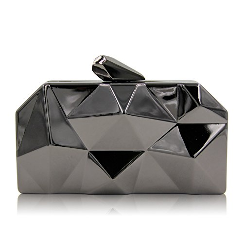 Mini TuTu Party Evening Hand Clutch Iron Holding Hexagon Black Box Bag Irregular Bag Geometric Personality Evening x1Fw1H
