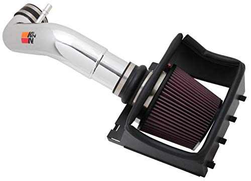 K&N Cold Air Intake Kit with Washable Air Filter:  2011-2014 Ford F150, 5.0L V8, Polished Metal Finish with Red Oiled Filter, 77-2581KP