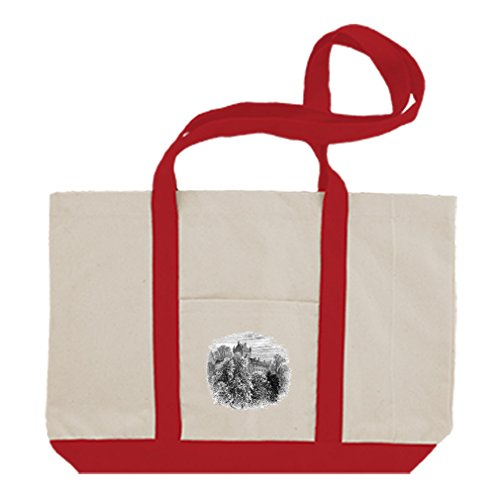 Cotton Canvas Boat Tote Bag Cawdor Castles By Style In Print | Red Cawdor Castle