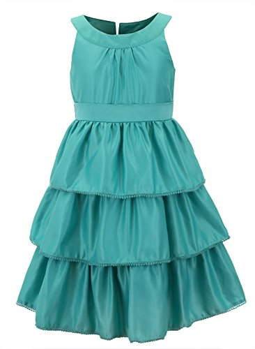 Emma Riley Girls' Satin Floral Party Dress 4 Light green ()
