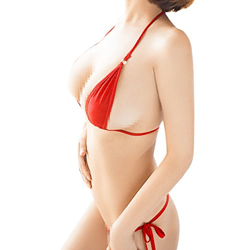Side Micro Thong - Women Brazilian Sheer Halterneck Lingerie G-String Micro Thong Tie Sides Teeny Mini Triangle Bikini Set Swimsuit