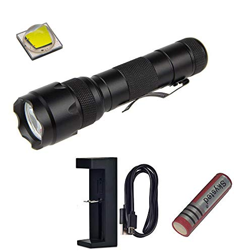 Skysted WF-502B Single Mode Tactical Clip Flashlight Kit,1200 Lumens CREE XM-L2 U3 LED,with 18650 Battery and USB Charger,Best Torch for Camping, Hiking, Emergency & EDC