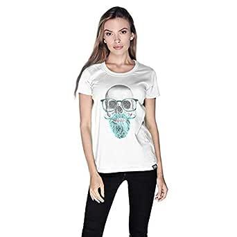 Creo Mint Beard Skull T-Shirt For Women - M, White