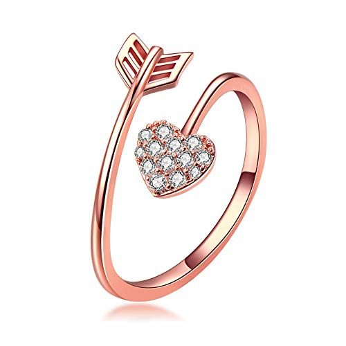 Qamra Love Heart Arrow Cupid Open Ring Cubic Zirconia Rose Gold Tone Plated Adjustable Diamond Rings for Women ()