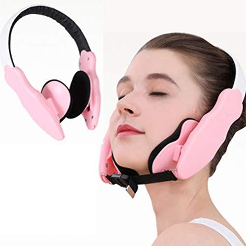 Facial Lifting Slimming Belt, Thin Face Corrector V Line 2 in 1 Thin Face Corrector Facial Masseter Cheekbone Chin Facial Lifting Mask + V-Face Massager Beauty Care Tool,Pink