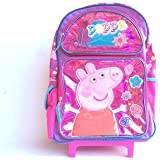New Peppa Pig Shine Pink Large Rolling Backpack(1642)