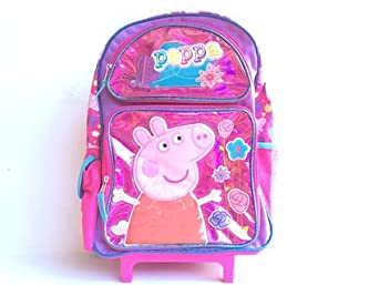 New Peppa Pig Shine Pink Large Rolling Backpack 1642