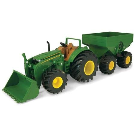 "John Deere 8"" Monster Treads Tractor with Wagon and Loader Durable and Long-Lasting Build"