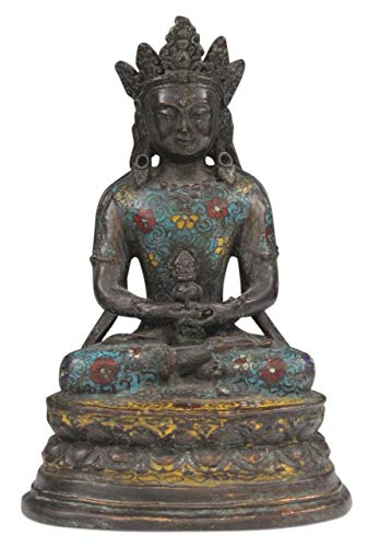 Buddha Figure Amitayus in Bronze from China (27 cm) Tibet Statue Cloisonne - Asien LifeStyle from Asien LifeStyle