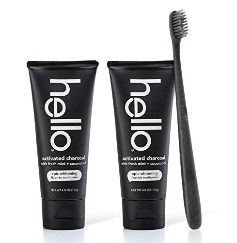 - Hello Oral Care Activated charcoal whitening fluoride toothpaste twin pack + bpa-free black toothbrush