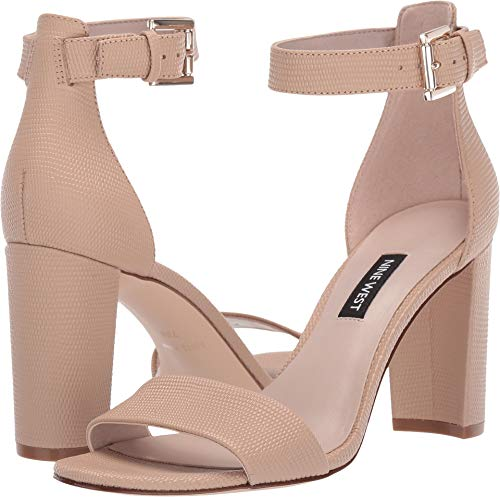 (Nine West Womens Nora Block Heeled Sandal Barely Nude 8 M)