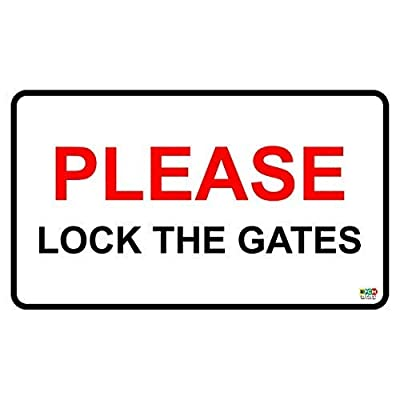"Lilyanaen New Metal Sign Aluminum Sign Please Lock The Gates Security House Garden Warning Safety Property Sign for Outdoor & Indoor 12"" x 8"": Home & Kitchen"