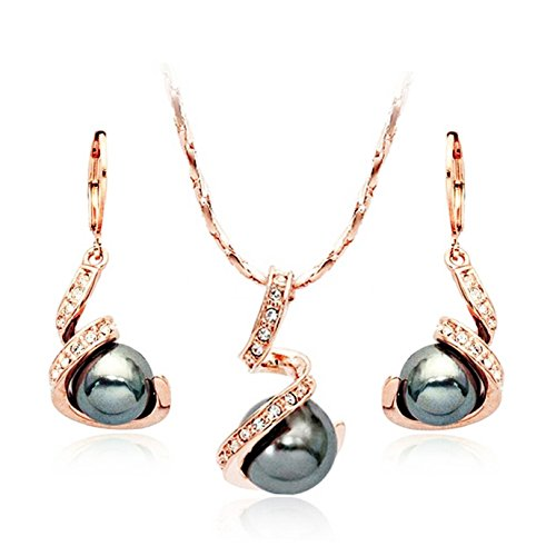 TINARE 18k Rose Gold Plated Austrian Crystal Black Pearl Earring and Necklace Set (Orange) (Simulated 16' Necklace Crystal Jewelry)