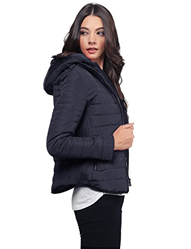Ribbed Puffer Jacket With Double Zipper And Fleece Lining Navy Size M