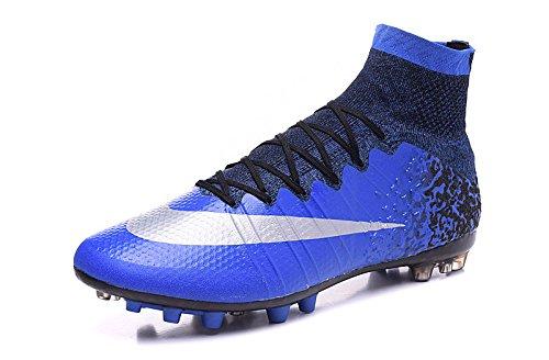 yurmery Zapatos para hombre botas de fútbol Mercurial Superfly CR7AG, hombre, azul real, 45