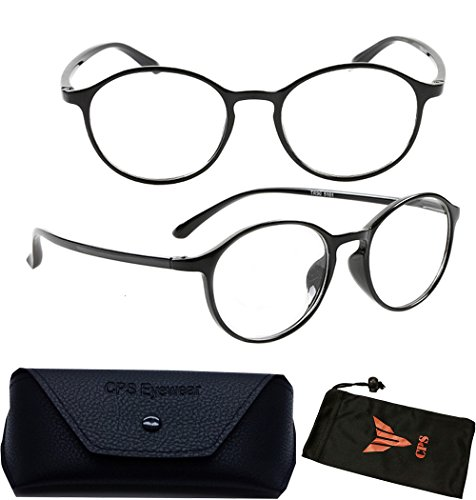 (#VR01P Blk) Plastic Black Frame Round Reading Glasses with wide temple curved (Strength- +1.50 - Glasses Wide Temple