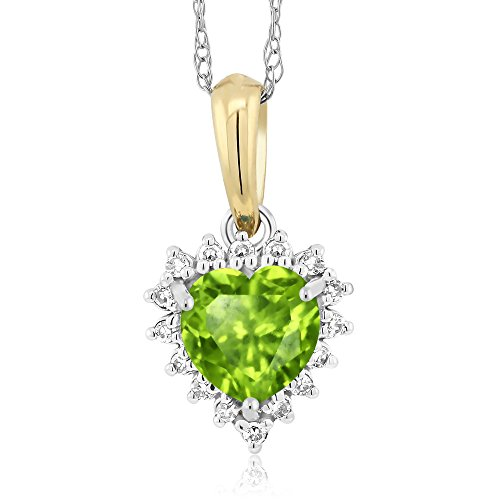 Gem Stone King 18K 2-Tone Green Peridot and Diamond Heart Shape Pendant 0.50 Ct