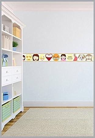 Emoji émoticônes Design Enfants Frise papier peint vinyle ...