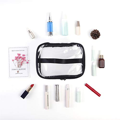 QUMENEY Portable Transparent Toiletry Bag with Handle, Clear Waterproof Makeup Bag for Travel, Large Clear Zippered Cosmetic Organizer for Bathroom, Vacation
