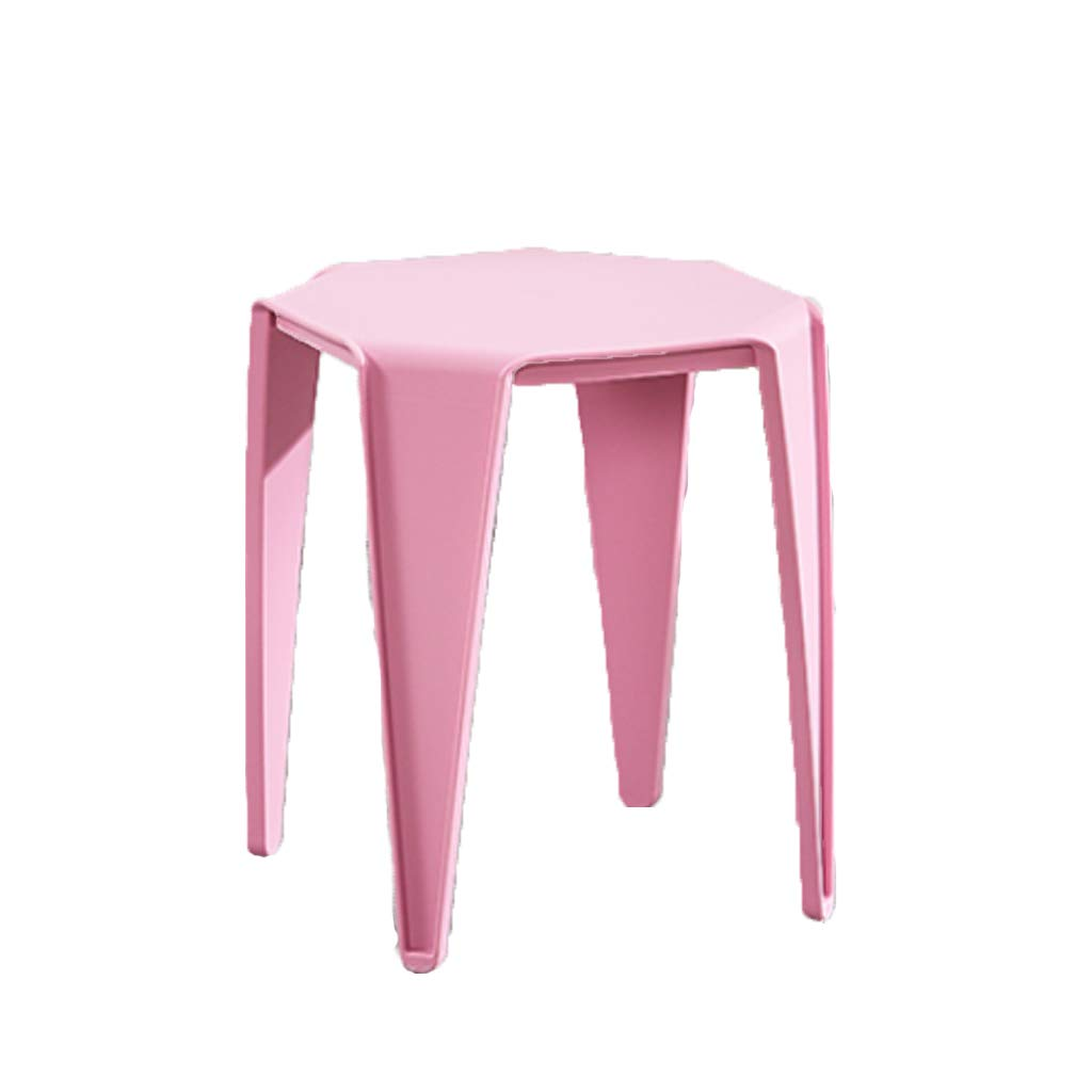 PINK FXNN Stool - Home Thickening Chair Stool Square Stool (color   Pink)
