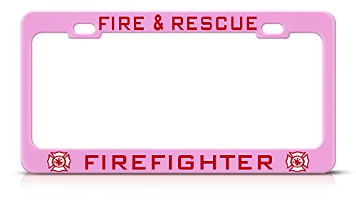Rescue Knife Bravo (FIRE & Rescue Firefighter Soft Pink Metal License Plate Frame Tag Border Perfect for Men Women Car garadge Decor)